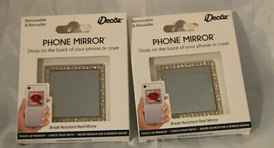 LOT OF 2 IDECOZ GOLD CRYSTAL REMOVABLE - REUSABLE BREAK RESISTANT PHONE MIRROR