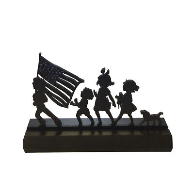 4th of July Decor Kid Parade Wood Silhouette Patriotic Americana Independence