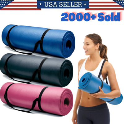 Yoga Mats 0-375 inch 10mm Thick Exercise Gym Mat Non Slip With Carry Straps