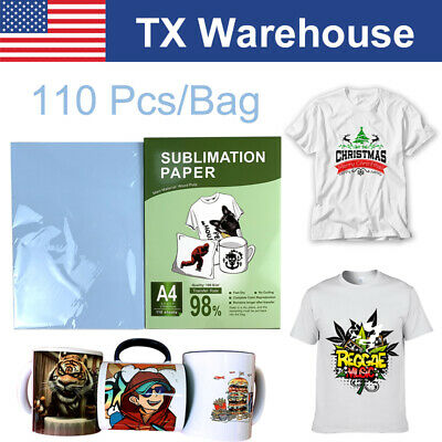 110Sheet 8-5x11 Dye Sublimation Heat Transfer Paper for Mug Cotton Polyester US