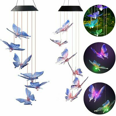 Solar Wind Chimes Lights LED Garden Outdoor Color Changing Hanging Butterfly US