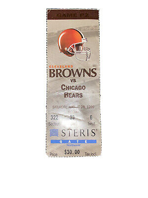 1999 CLE Browns Game P2 Ticket Browns Vs Bears