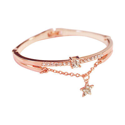 Fashion Women Stainless Steel Bangles Crystal Star Forever Love Bracelet Jewelry