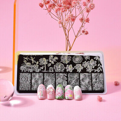 Lady Beauty BigBang Rectangle Stamping Template Lotus Line Butterfly Nail Plate