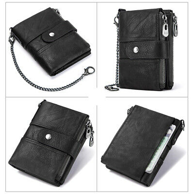 Mens Genuine Leather Wallet Coin Purse Biker RFID Bifold Antitheft Chains Black