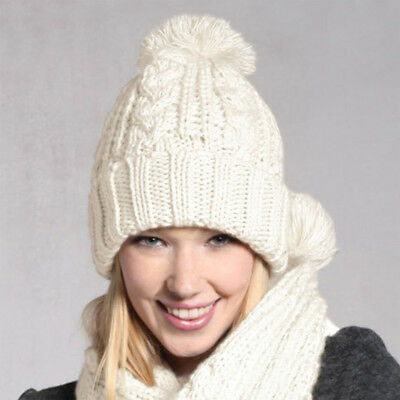 Fashion Women Girls Knitted Scarf and Beanie Pompom Hat Set Warm Winter Thick US