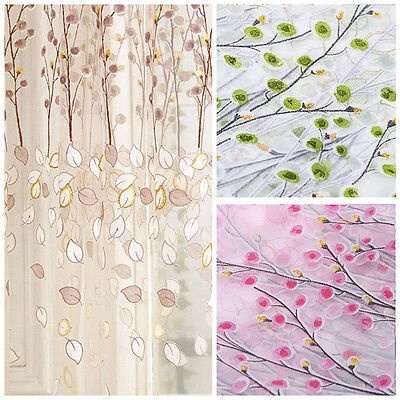 Floral Tulle Voile Door Window Curtain Sheer Screen Panel Drapes Scarfs Valances