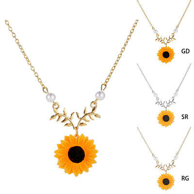 Sunflower Pendant Necklace Clavicle Women Charm Pearls Jewelry Sweater Chain US