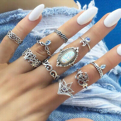 10pcs Women Ladies Silver Rings Sets Above Knuckle Stacking Band Midi Ring Boho