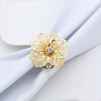 West Dinner Towel Napkin Ring Hollow Out Flower Napkin Buckle Serviette Rings US
