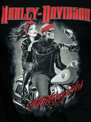 Harley-Davidson Mens Pinup Girl With Skeleton Rider Black Short Sleeve T-Shirt