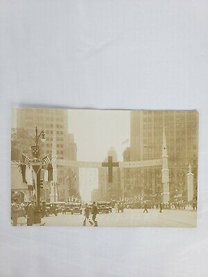 RPPC Detroit Michigan Street View Fourth of July Patriotic 1928 Old CarsBuses