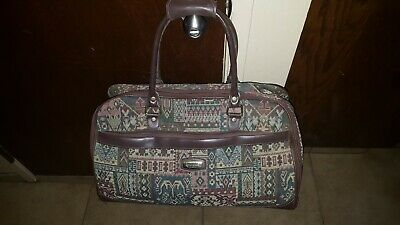 VINTAGE AMERICAN TOURISTER Carry-On Tote Overnight Zippered Tapestry Bag wStrap