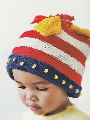 Knitting Pattern  Baby Stars - Stripes Fourth of July Top Hat  Instructions