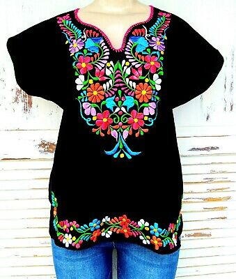 Mexican Embroidered Womens Blouse Assorted Sizes - Colors S To 3XL Peasant Top
