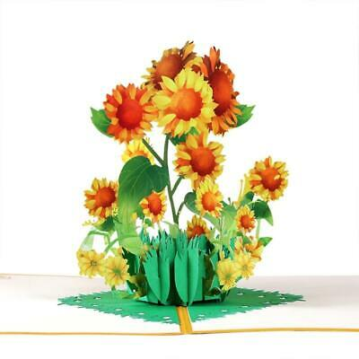 3D Pop-Up Sunflower Greeting Card for Birthday Mothers Fathers Day Wedding