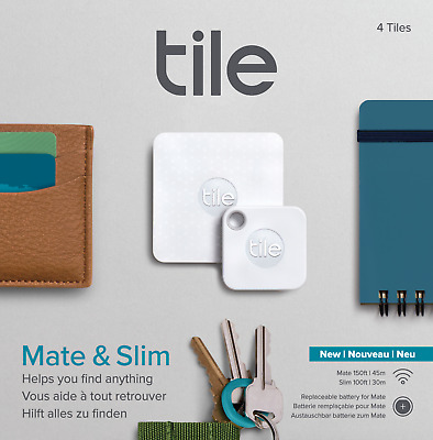 Tile Bluetooth Tracker  Replaceable battery  Combo Slim - Mate - 4 Pack