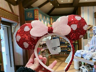Disney Parks 2021 Valentine's Day Mickey Minnie Mouse Sequined Ear Headband New