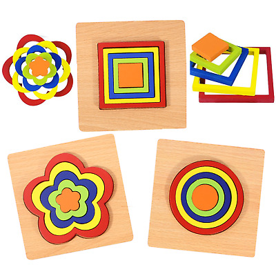3 Pack Kids Wooden Puzzle Building Blocks Toys Shapes Early Learning Educational