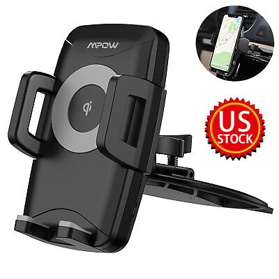 Mpow Auto Mobile Cell Phone Holder CD Slot Car Stand Mount with Wireless Charger