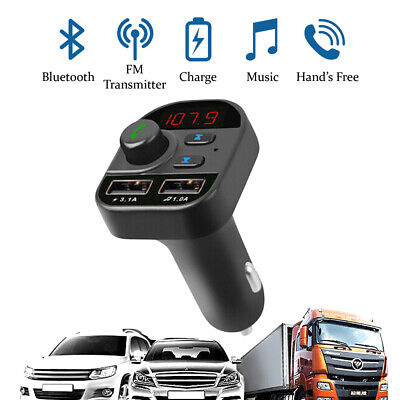 Wireless In-Car Bluetooth FM Transmitter MP3 Player Car Dual USB Charger Adapter