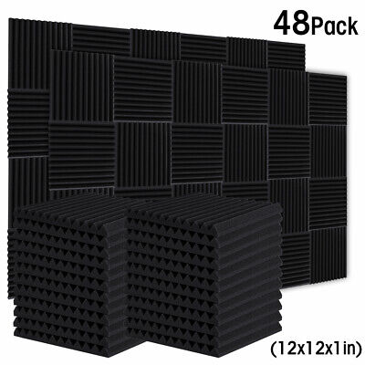 48 Pack 12 X 12 X 1 Acoustic Foam Panel Studio Wedge Wall Tiles Soundproofing