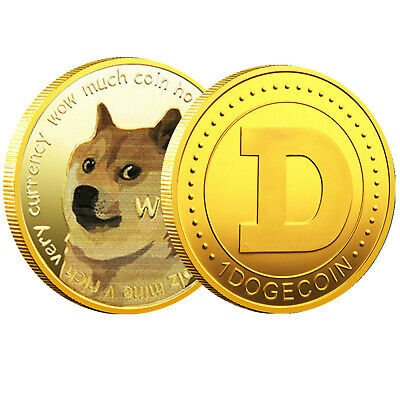 1x Gold Dogecoin Coins Commemorative 2021 New Collectors Gold Plated Doge Coin