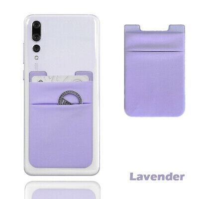 Two Pockets Cell Phone Credit Card Holder Wallet Sticker for Key Adhesive Black