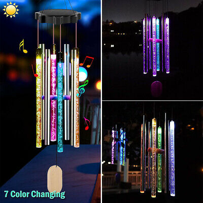 Solar Color Changing LED Wind Chimes Garden Yard Decor Hanging Light w 8 Tubes