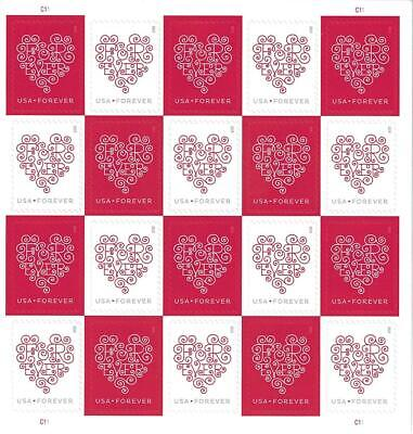 100 5 Sheets of 20 Stamps USPS Love Hearts Forever Stamps  -  MNHBrand New