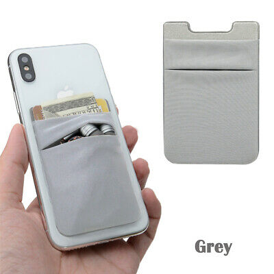 Two Pockets Cell Phone Credit Card Holder Wallet Sticker for Key Adhesive Grey