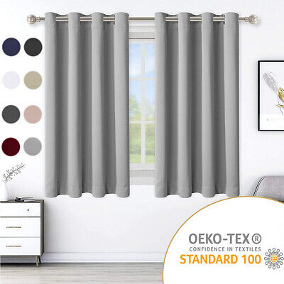 2PC Blackout Grommet Panel Window Curtains Thermal Insulated Drapes for Bedroom