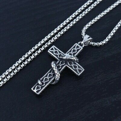 Cross Pendant Necklace Silver Stainless Steel Unisexs Chain Crucifix Men Women