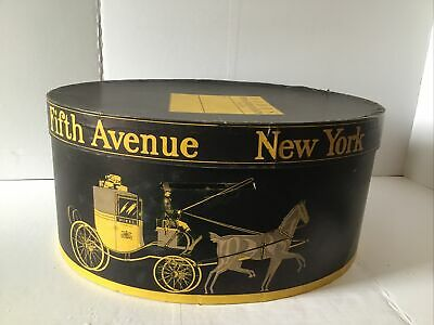 Vintage Dobbs Fifth Ave New York Mustard Yellow - Black Large Oval Hat Box ONLY