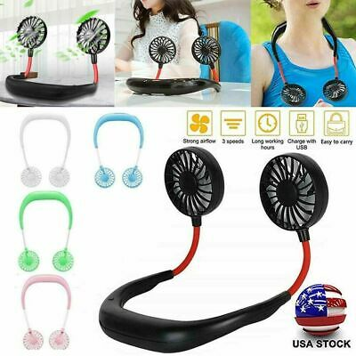 USB Rechargeable Neckband Lazy Neck Hanging Dual Cooling Mini Portable Fan US