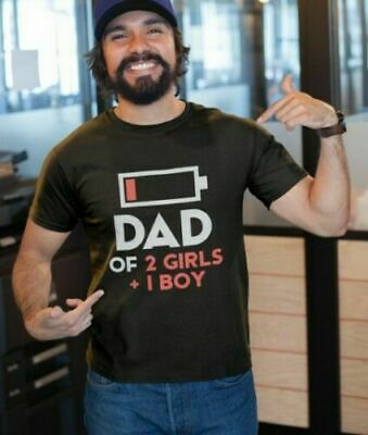 Dad Of 2 Girls 1 Boy - Funny Gift For Fathers Day - T-Shirt From Kids S-4XL