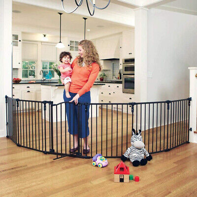 Baby Pet Dog Safety Metal Gate Playpen Indoor Outdoor Kids Fireplace Fence Guard