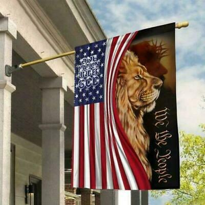 Lion One Nation Under God Lion We The People House And Garden Flag 2 Sizes
