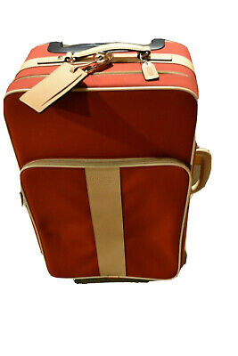 Vintage Coach Rolling Suitcase Carry On Designer Red Luggage Authentic Leather