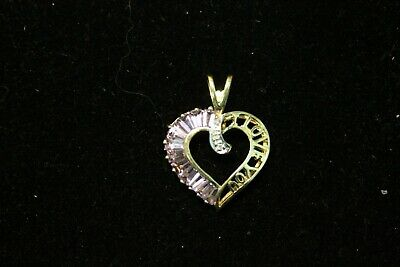 10k CID Yellow Gold Heart CharmPendant- Amethyst and Diamond accent- 2-03 grams