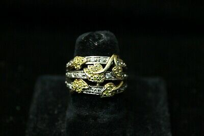 18K Yellow and White Gold Floral Leaf Design with Yellow and White Diamonds
