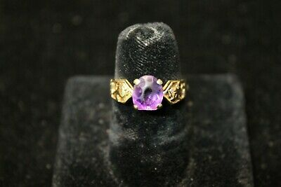 14K Yellow Gold Amethyst Ring with Floral Design