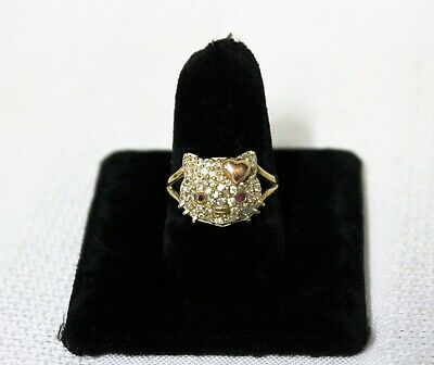 10k Yellow and Rose Gold Hello Kitty Ring with Ruby Eyes Size 7-5 - 3-6 grams