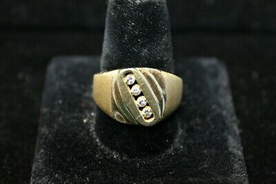 14K Yellow Brushed and Polished Gold Band with 4 Diamonds