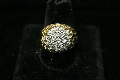 10K Yellow and White Gold Diamond Cluster RIng