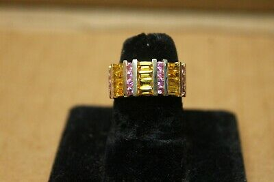 14k 4-8 grams Yellow Gold Pink Sapphire and Yellow Topaz Ring