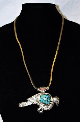 Handmade Sterling SilverSuede Turquoise Peacock Necklace 54-3g