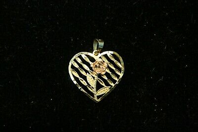 10K Yellow Gold Heart with Rose Gold Flower