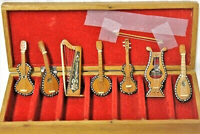 Set of 7 Vintage Miniature Wooden String Instruments with Abalone Inlay w Box