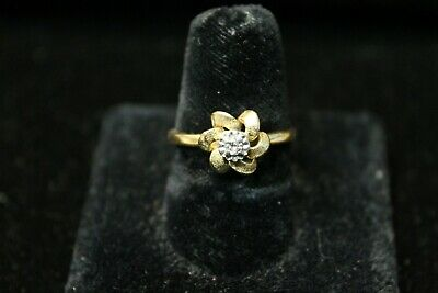 14K Yellow Gold Flower Ring with -07 Diamond in the Center